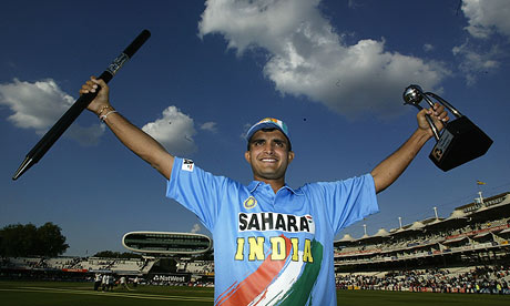 Sourav Ganguly celebrates winning the Natwest one-day series against England at Lord's in July 2002
