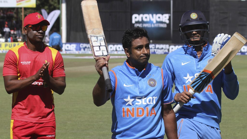 Indian batsman Ambati Rayudu salutes the crowd during their first One Day International cricket match against Zimbabwe in Harare