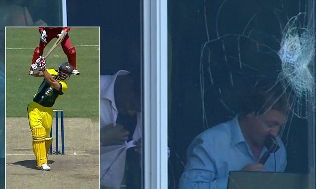 VIDEO: Mitchell Johnson breaks commentary box window - The Cricket Lounge