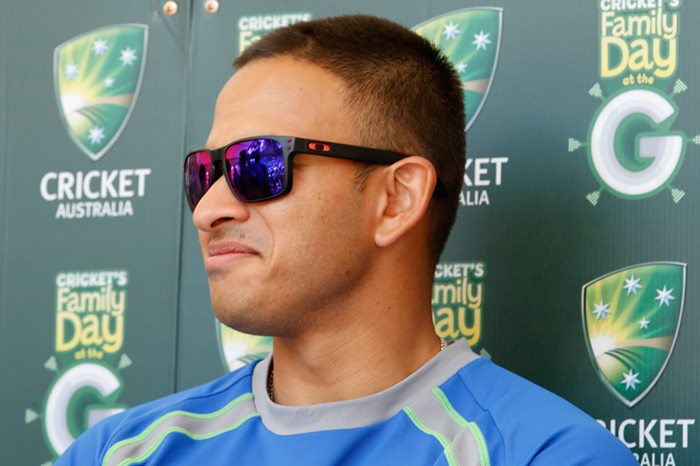 MELBOURNE, AUSTRALIA - DECEMBER 23:  Usman Khawaja looks on during the Family Day At The G at Melbourne Cricket Ground on December 23, 2015 in Melbourne, Australia.  (Photo by Darrian Traynor - CA/Cricket Australia/Getty Images)