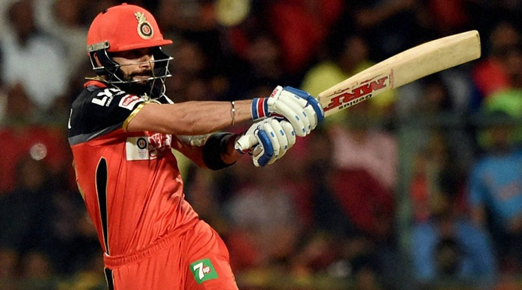 RPT---Bengaluru :  Virat Kohli of Royal Challengers Bangalore  plays a shot against Delhi Daredevils during Indian Premier League (IPL) 2016 T20 match in Bengaluru on Sunday. PTI Photo by Shailendra Bhojak(PTI4_17_2016_000217b)
