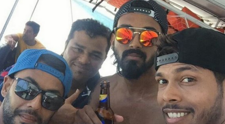 The picture that has been doing rounds on social media features opener KL Rahul with a beer pint in his hand. He is accompanied by all-rounder Stuart Binny, pacer Umesh Yadav and a support staff member in the image.