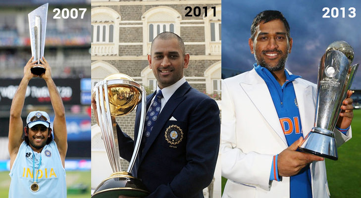 ms dhoni three icc trophies