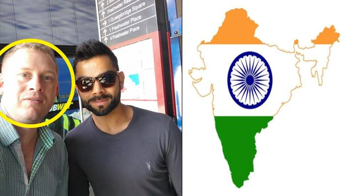 Left: Dennis Freedman with Virat Kohli  Right: Edited picture of India's map posted by Dennis