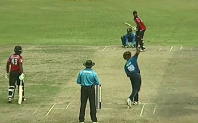 Lasith Malinga bowls off-spin. (Photo Source: Twitter)