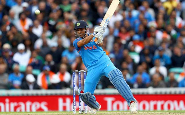 LONDON, ENGLAND - JUNE 08: MS Dhoni of India in action during the ICC Champions trophy cricket match between India and Sri Lanka at The Oval in London on June 8, 2017 (Photo by Clive Rose/Getty Images)