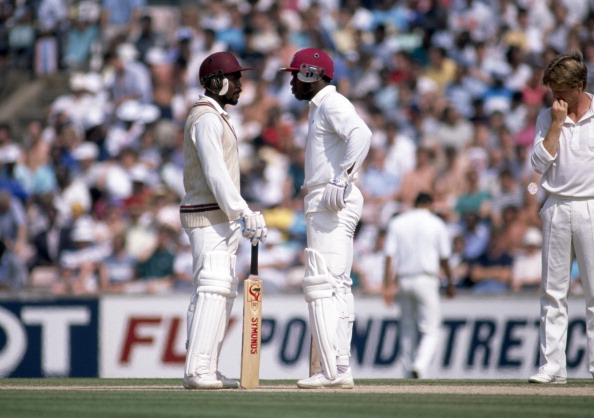 West Indian opening batsmen Gordon Greenidge (left) and Desmond Haynes during the 5th Test match against England at the Kennington Oval in London on the 8th August 1988. The West Indies won the match by 8 wickets. (Photo by David Munden/Popperfoto/Getty Images)