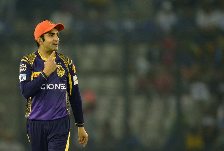Kolkata Knight Riders captain  Gautam Gambhir  gestures during the 2016 Indian Premier League (IPL) Twenty20 cricket match between Kolkata Knight Riders  and Kings XI Punjab at The Punjab Cricket Association Stadium in Mohali on April 19, 2016.  ------IMAGE RESTRICTED TO EDITORIAL USE - STRICTLY NO COMMERCIAL USE------  / AFP PHOTO / SAJJAD HUSSAIN