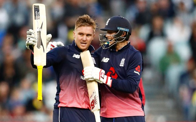 MELBOURNE AUSTRALIA- JANUARY 14 Jason Roy of England celebrates reaching his century with Joe Root during game one of the One Day International Series between Australia and England at Melbourne Cricket Ground