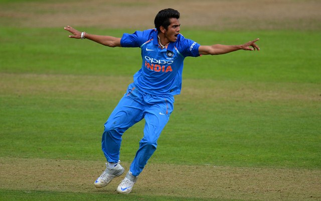 TAUNTON, ENGLAND - AUGUST 16: Kamlesh Nagarkoti of India U19s appeals during the 5th Youth ODI match between England U19s and India Under 19s at The Cooper Associates County Ground on August 16, 2017 in Taunton, England. (Photo by Harry Trump/Getty Images)