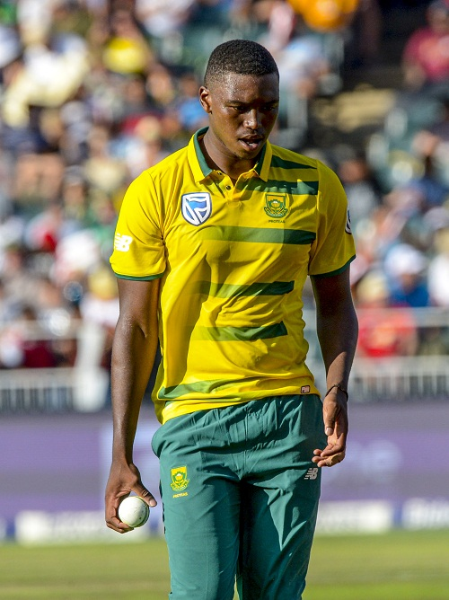 JOHANNESBURG, SOUTH AFRICA - JANUARY 22: Lungi Ngidi of South Africa during the 2nd KFC T20 International match between South Africa and Sri Lanka at Bidvest Wanderers Stadium on January 22, 2017 in Johannesburg, South Africa. (Photo by Sydney Seshibedi/Gallo Images)