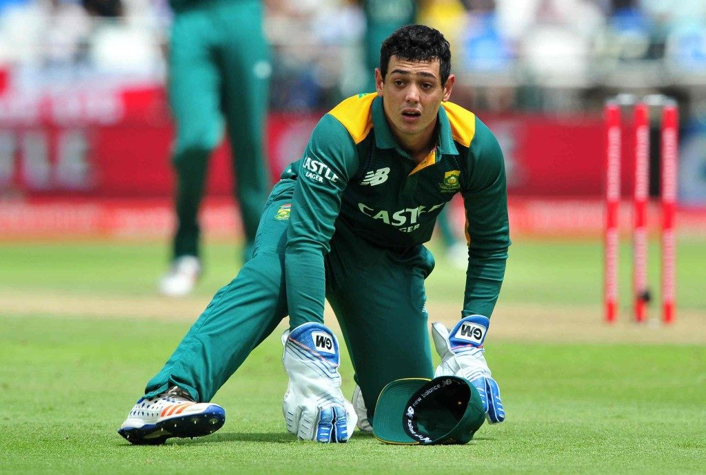 Quinton de Kock of South Africa during the fifth Momentum One Day International between South Africa and England at Newlands Cricket Ground, Cape Town on 14 February 2016 ©Ryan Wilkisky/BackpagePix