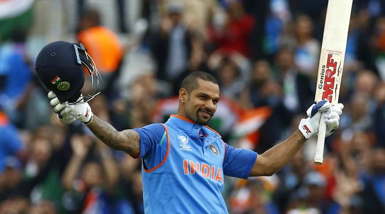 Britain Cricket - India v Sri Lanka - 2017 ICC Champions Trophy Group B - The Oval - June 8, 2017 India's Shikhar Dhawan celebrates reaching his century  Action Images via Reuters / Peter Cziborra Livepic EDITORIAL USE ONLY.