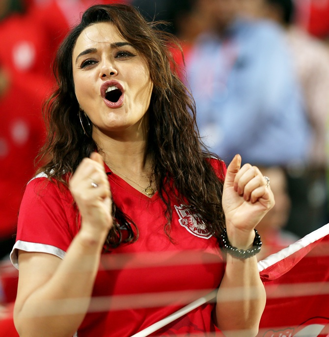 Preity Zinta owner of Kings XI Punjab during match 10 of the Pepsi IPL 2015 (Indian Premier League) between The Kings XI Punjab and The Delhi Daredevils held at the MCA International Stadium in Pune, India on the 15th April 2015. Photo by: Sandeep Shetty / SPORTZPICS / IPL