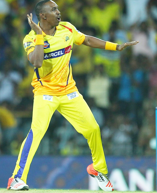 Dwayne Bravo of the Chennai Superkings celebrates the wicket of Yusuf Pathan of the Kolkata Knight Riders during match 28 of the Pepsi IPL 2015 (Indian Premier League) between The Chennai Superkings and The Kolkata Knight Riders held at the M. A. Chidambaram Stadium, Chennai Stadium in Chennai, India on the 28th April 2015. Photo by: Ron Gaunt / SPORTZPICS / IPL