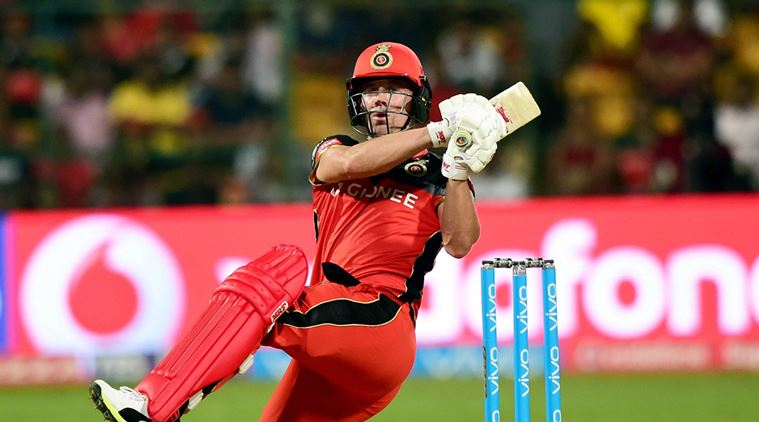 Bengaluru : Royal Challengers Bangalore AB De Villiers plays a shot during the match between Royal Challengers Bangalore and Rising Pune Supergaints at Chinnaswamy Stadium in Bengaluru on Sunday. PTI Photo by Shailendra Bhojak(PTI4_16_2017_000229b)
