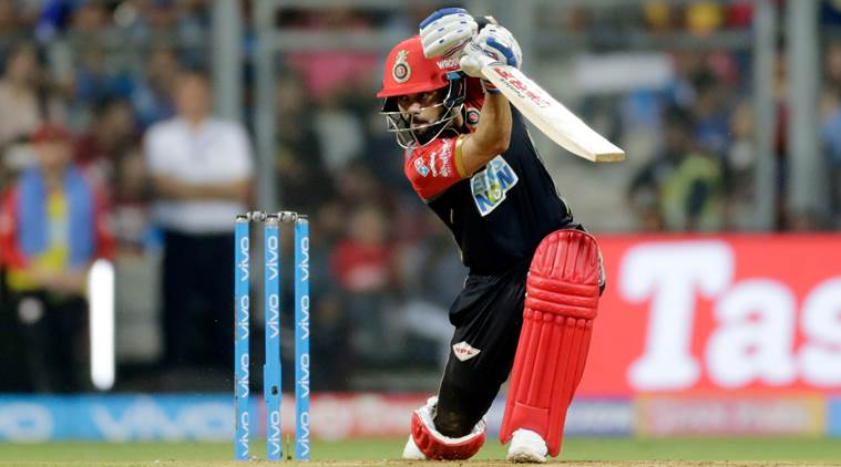 Royal Challengers Bangalore player Virat Kohli bats against Mumbai Indians during VIVO IPL cricket T20 match in Mumbai, India, Tuesday, April 17, 2018. (AP Photo/Rajanish Kakade)
