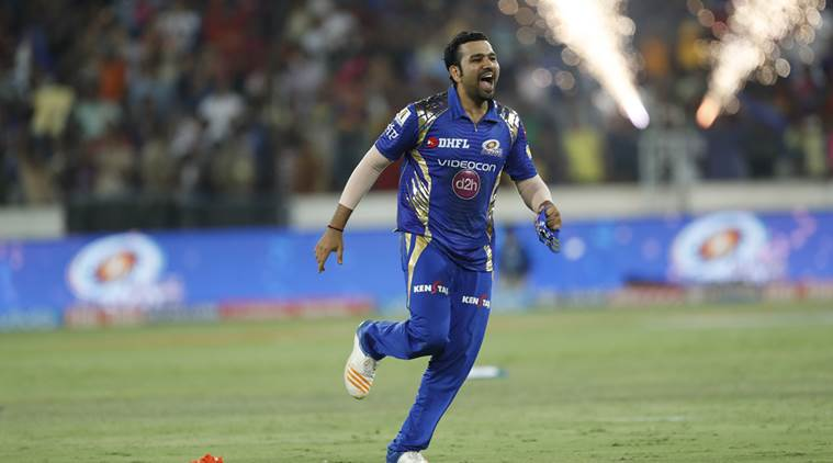 Mumbai Indians' captain Rohit Sharma celebrates after wining the Indian Premier League (IPL) cricket final against Rising Pune Supergiant in Hyderabad, India, Sunday, May 21, 2017. (AP Photo/Tsering Topgyal)