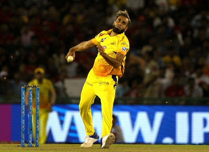 Mohali: Imran Tahir of Chennai Super Kings in action during an IPL 2018 match between Kings XI Punjab and Chennai Super Kings at the Punjab Cricket Association IS Bindra Stadium in Mohali on April 15, 2018. (Photo: Surjeet Yadav/IANS)