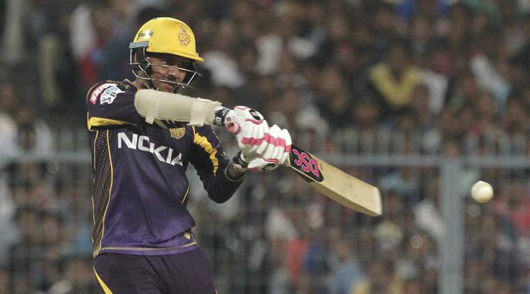 Kolkata Knight Riders' Sunil Narine hits a ball during VIVO IPL cricket T20 match against Royal Challengers Bangalore in Kolkata, India, Sunday, April 8, 2018. (AP Photo/Bikas Das)