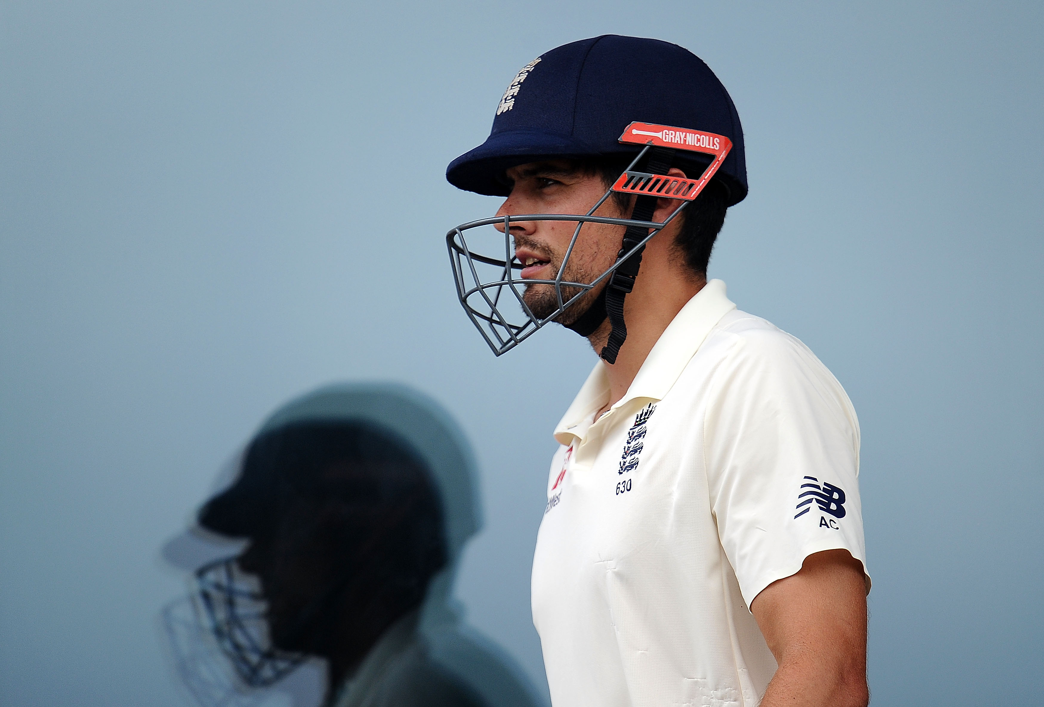 WORCESTER, ENGLAND - JULY 17: Alastair Cook of England Lions walks back to the pavilion after being dismissed for 180 during Day Two of the Tour Match match between England Lions and India A at New Road on July 17, 2018 in Worcester, England. (Photo by Harry Trump/Getty Images)