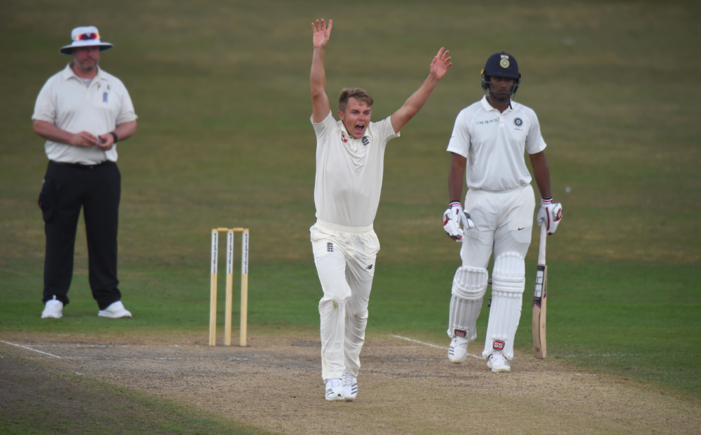 WORCESTER, ENGLAND - JULY 18: Sam Curran of England Lions makes an appeal during Day Three of the Tour Match between England Lions and India A at New Road on July 18, 2018 in Worcester, England. (Photo by Tony Marshall/Getty Images)
