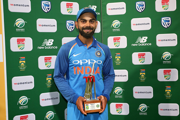 CAPE TOWN, SOUTH AFRICA - FEBRUARY 07: Man of the Match Indian captain Virat Kohli during the 3rd Momentum ODI match between South Africa and India at PPC Newlands on February 07, 2018 in Cape Town, South Africa. (Photo by Shaun Roy/Gallo Images/Getty Images)
