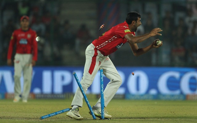 New Delhi: Kings XI Punjab captain Ravichandran Ashwin celebrates fall of Daniel Christian's wicket during an IPL 2018 match between Kings XI Punjab and Delhi Daredevils at Feroz Shah Kotla, in New Delhi on April 23, 2018. (Photo: Surjeet Yadav/IANS)​