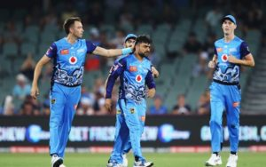 ADELAIDE, AUSTRALIA - DECEMBER 23: Rashid Khan of the Strikers celebrates with team mates after claiming the wicket of Josh Inglis of the Scorchers during the Big Bash League match between the Adelaide Strikers and the Perth Scorchers at the Adelaide Oval on December 23, 2019 in Adelaide, Australia. (Photo by Brendon Thorne/Getty Images)
