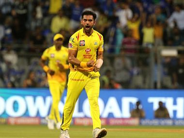 Deepak Chahar of Chennai Super Kings celebrates the wicket of Quinton de Kock of Mumbai Indians during match 15 of the Vivo Indian Premier League Season 12, 2019 between the Mumbai Indians and the Chennai Super Kings  held at the Wankhede Stadium in Mumbai on the 3rd April 2019 Photo by: Vipin Pawar /SPORTZPICS for BCCI