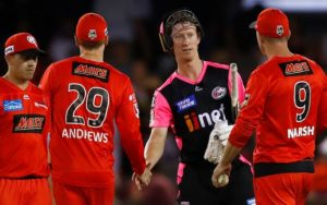 MELBOURNE, AUSTRALIA - JANUARY 02: Jordan Silk of the Sixers shakes hands with Tom Andrews of the Renegades (C) and Shaun Marsh of the Renegades (R) after the Big Bash League match between the Melbourne Renegades and the Sydney Sixers at Marvel Stadium on January 02, 2020 in Melbourne, Australia. (Photo by Daniel Pockett/Getty Images)