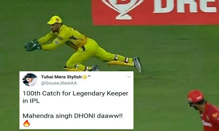 MS Dhoni 100th Catch